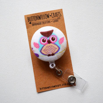 Fabric Button ID Badge Reel, Retractable Lanyard, Nurses, Birthday Gift, Key Card, Handmade Pretty Badge Reel, Owl, Owl Button, Cute Owls