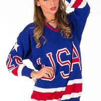USA Sports Jersey Long Sleeve Oversized Sweater