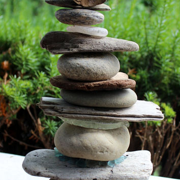 Magnificent and Unusual Beach Sculpture / Cairn Hand Crafted with Lake Stones , Driftwood and Sea Glass One of a Kind Fine Art