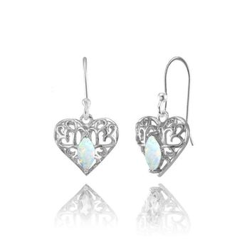 Marquise Heart Filigree 6x3mm Simulated Opal Dangle Earrings in Sterling Silver