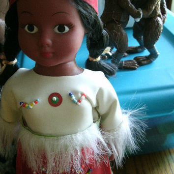 Vintage Native American Princess Doll With Beaded Dress