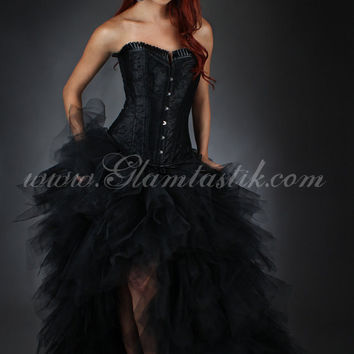 Custom Size Black tulle Burlesque Corset Dress short in the front long train in the back Small-XL