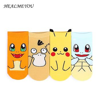 New Fashion Cute Pokemon Socks Cotton Ankle Novelty Sox Japanese Cartoon Raichu Charmander Funny Socks Women 2017 Hot Sale