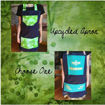 Green Peace or Gold Bee Upcycled Apron Small Size For Kids Baking Cooking Gardening Arts and Crafts Green and Blue