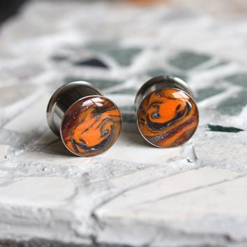 "9/16 Double Flare Plugs, Halloween Plugs, Halloween Gauges, Orange and Black Plugs, Polymer Clay Plugs, Gauged Earrings - size 9/16"" (14mm)"