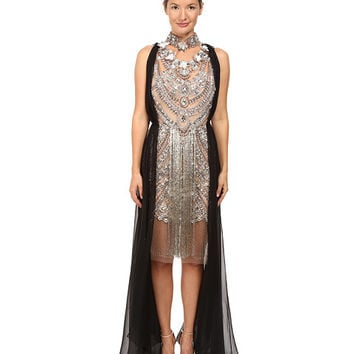 Marchesa Crystal and Antique Silver Jeweled Necklace Cocktail with Bugle Bead Fringe and Black Chiffon Grecian Drape