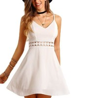 SheIn Womens Sexy Club Wear Summer Solid White Sleeveless Spaghetti Strap Lace Hollow Slim Fit and Flare Mini Slip Dress