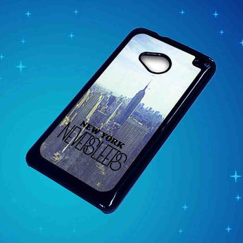 Blue Manhattan Never Sleeps For HTC One M7 Case ***