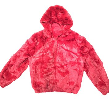 Kashani Red Rabbit Fur Hooded Bomber Jacket