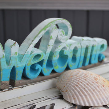 Vintage Inspired Boho Beach Welcome Sign , Hand Painted Unique Coastal Home Decor