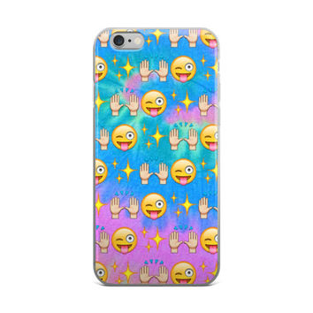 Beautiful Praise Hands Glowing Stars Wink Smiley Face Tongue Out Emoji Collage Tie Dye Cute Girly Girls Pink & Sky Blue iPhone 4 4s 5 5s 5C 6 6s 6 Plus 6s Plus 7 & 7 Plus Case