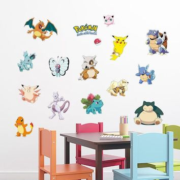 Pocket Monster  DIY Wall Sticker for Kids Baby Nursery Home Decor Decorative Cartoon Decals Game Children Room PosterKawaii Pokemon go  AT_89_9