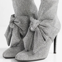 Giuseppe Zanotti - Natalie embellished glittered stretch-knit sock boots