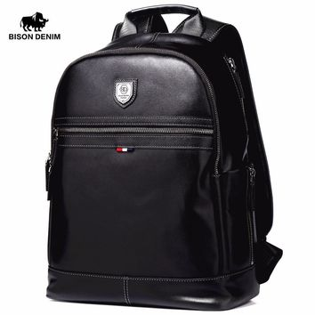 "BISON DENIM Fashion Business Backpack 15.6"" Laptop Genuine Leather Backpacks with USB charging Travel Male Backpack N2579-1B"
