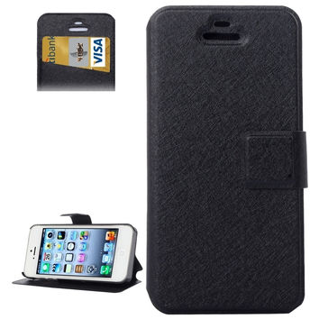 Silk Texture Leather Case with Credit Card Slot & Holder for iPhone 5 & 5s & SE & SE