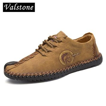 Valstone Men's leather Casual shoes stylish sneakers male vintage loafers split leather moccasin handmade flats plus size 38-48-