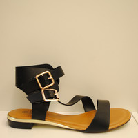 (ams) Gold detail strappy black sandals