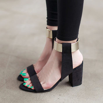 Summer Ankle Strap Glitter Metal Bling Square High Heel Sandals Women's shoes Black