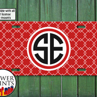 Red and White Modern Square Pattern Initials Monogram Cute Accessory For Front License Plate Car Tag One Size Fits All Vehicle Custom