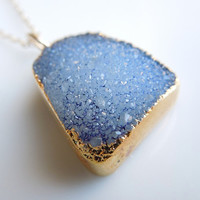 Druzy Necklace in Sky Blue, SOMETHING BLUE