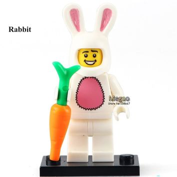 PG964 Easter Bunny Suit Guy Collectible Single Sale Series 7 Rabbit Carrot 8831 Building Block Kids New Year Gift Toys