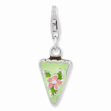 Sterling Silver Rhodium Plated Enameled Green Mint Cake w/Lobster Claw Clasp Cha