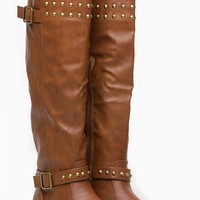 Tan Faux Leather Fall Stud Knee High Rider Boot