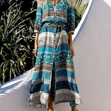 Green Front Button 3/4 Sleeve Geo-Tribal Print Maxi Dress