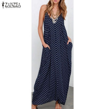 6 Color Sexy 2016 ZANZEA Women Strapless Polka Dot Casual Loose Long Maxi Summer Dress Cotton Beach de verano Vestidos Plus Size