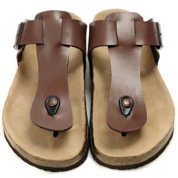 Birkenstock Leather Cork Flats Shoes Women Men Casual Sandals Shoes Soft Footbed Slippers-2