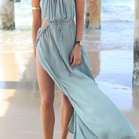 Light Blue Halter Bohemian Beach Dress