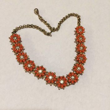 Orange floral choker necklace, Rhinestone flowers, Vintage jewelry