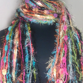 Knotted Scarf All Fringe Scarves Womens Scarf - Sherbert - Shades of Black, Orange, Pink, Lime and Turquoise - $29.95 - Handmade Crafts by Flora's Finest Scarves