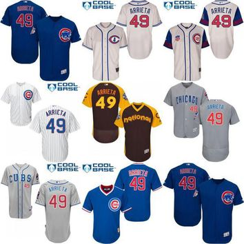 2016 World Series Champions Patch Men's Chicago Cubs #49 Jake Arrieta Grey Alternate Flexbase Authentic Collection Jersey stitched s-4xl