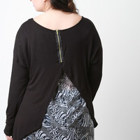 Animal Chiffon Split Back High-Low Top