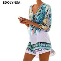 DCCKUH3 Bathing Suit Beach Caftan Swimsuit Cover up Print Chiffon Pareo Women Robe Plage Swimwear Dress Sexy Sarong Beach Tunic #Q152
