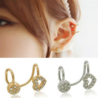 New Lady 1pc Hollow Heart Round Crystal Silver Gold Plated Ear Clip Earring Cuff = 1706173252