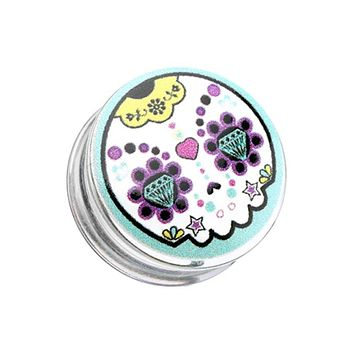 Diamond Eyes Sugar Skull Clear UV Single Flared Ear Gauge Plug
