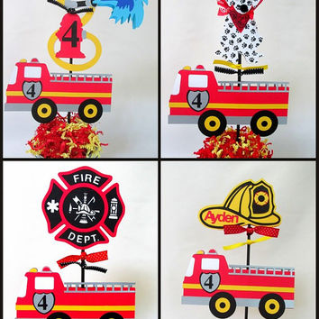 Fire Engine, Fire Truck Birthday Theme Centerpieces Choose From: Fireman's Hat, Fire Hydrant, Dalmatian, Fireman's Badge