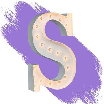"""24"""" Letter S Lighted Marquee Letters (White Gloss)"""