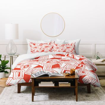 Heather Dutton Fragmented Flame Duvet Cover