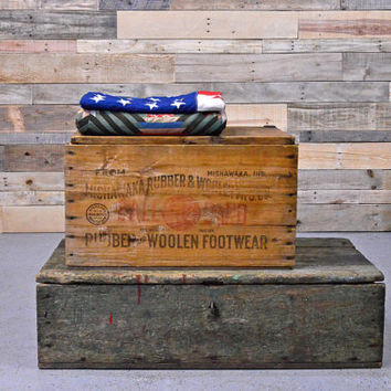 Vintage Wood Crate, Mishawaka Rubber & Woolen Mfg. Co. Shoe Crate, Storage Box, Record Storage