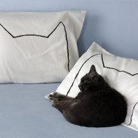 Cat Nap Pillow case set in Cream - gift for cat lover - 300TC, King - his and hers decorative pillow cases, modern home decor,  cat lady