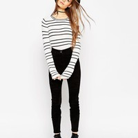 ASOS | ASOS Striped Sweater in Stuctured Knit with Flared Sleeve at ASOS