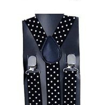Kids Teens Black with White Polka Dot Bow Tie & Adjustable Suspenders Combo-New!