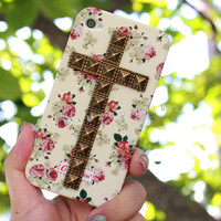 White Pink Vintage Flower Rose Cross Brass Dotted Studded Silicone Matte iPhone 4 4S Phone Case AT&T Verizon Sprint