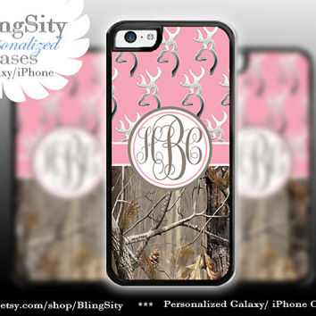 Monogram Iphone 5C case Browning Pink iPhone 5s  iPhone 4 case Ipod 4 5 Touch case Real Tree Camo Deer Personalized Country Girl