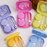 New Mini Square Contact Lens Case Travel Kit Easy Carry Mirror Container Holder