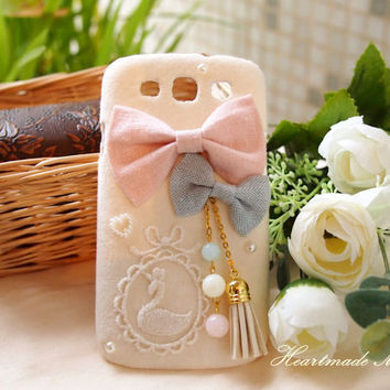 Diy Handmade Cloth Art Phone Case no.69d Swan and Tassel with Japanese Style for Samsung Galaxy S4 S3 S2 for T-Mobile Skyrocket Note 2