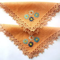 Napkins - Two Linen Embroidered - Handmade Vintage